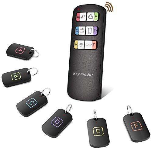OTraki Schlüsselfinder Wireless Keyfinder Item Tracker Support Fernbedienung Anti-verlorene Schlüsselanhänger Locator mit 6 Empfängern RF Item Locator & 1 Sender +14 Batteries + 2 Wire Loops -