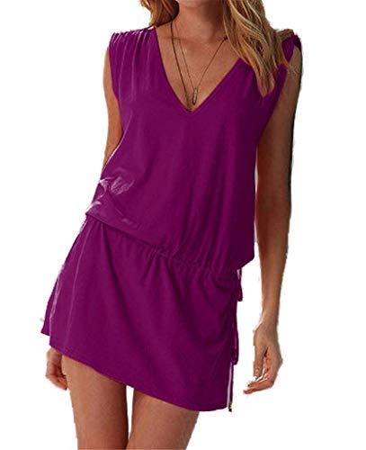 ERGEOB® Damen tiefem V-Ausschnitt Öffnen Rückseite Strand Bikini Vertuschung Kleid Strand Rock Lila -