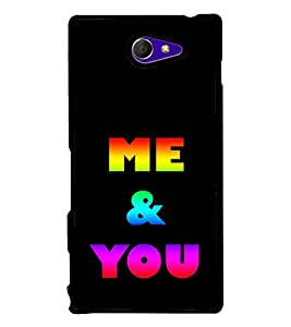 Colourful Me & You 2D Hard Polycarbonate Designer Back Case Cover for Sony Xperia M2 Dual :: Sony Xperia M2 Dual D2302
