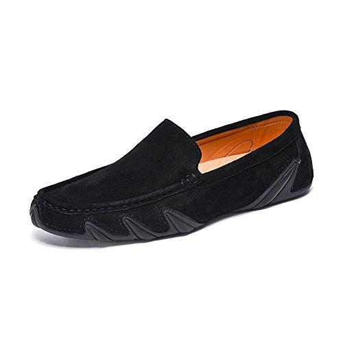 Oxford Schuhe Herren Driving Penny Mokassins aus echtem Leder weiche Gummisohle Boots Müßiggänger Kleid Schuhe Für Männer (Color : Schwarz, Größe : 10.5 MUS) - Leder Gummisohle Boots Schuhe