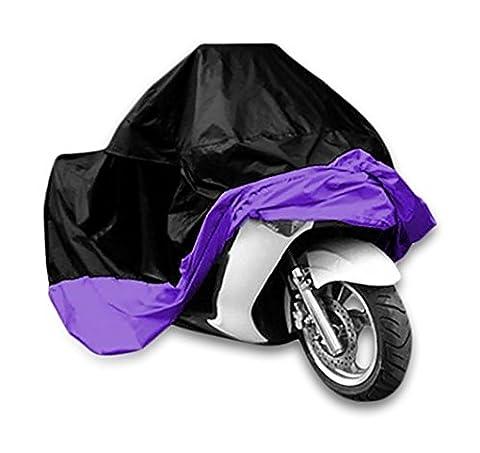 Housse de Protection Bâche pour Moto Scooter Imperméable Étanche Anti-UV Sac de Rangement inclus Noir/Violet XXL