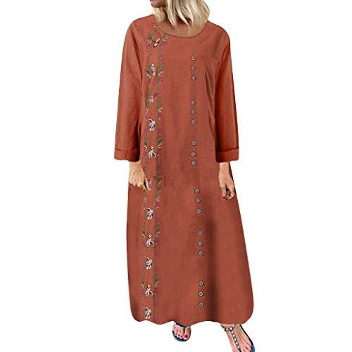 WUDUBE Robe Longue à Broderies Florales Robe Chic Femme Grande Taille Robe de soirée Décontractée en Vrac Coton et Lin Manche Longue Col Rond Robe Maxi