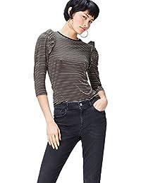 FIND T-Shirt con Manica a Tre Quarti con Rouches Donna