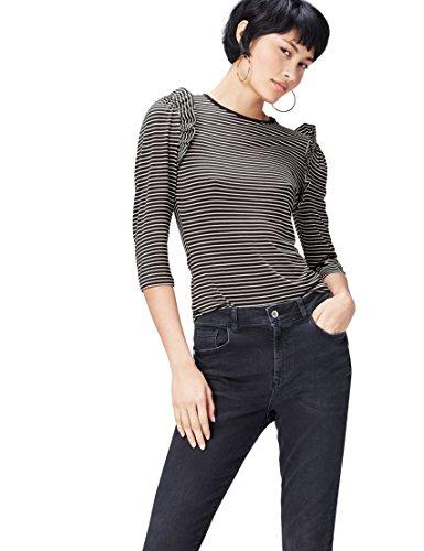 FIND Damen T-Shirt mit Streifenmuster Mehrfarbig (Black/ivory), 38 (Herstellergröße: Medium) (Jahre Langarm 80er)