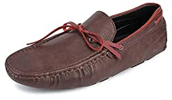 Spunk Mens Maroon Synthetic Loafers - 10 UK