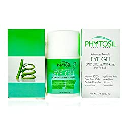 Best Eye Gel 100% Organic - For Wrinkles, Crows Feet, Puffiness, Under Eye Bags, Dark Circles - Contains Peptides, Matrixyl 3000, Hyaluronic Acid, Green Tea, Cucumber, Vitamin E - Phytosil, 1.7 oz