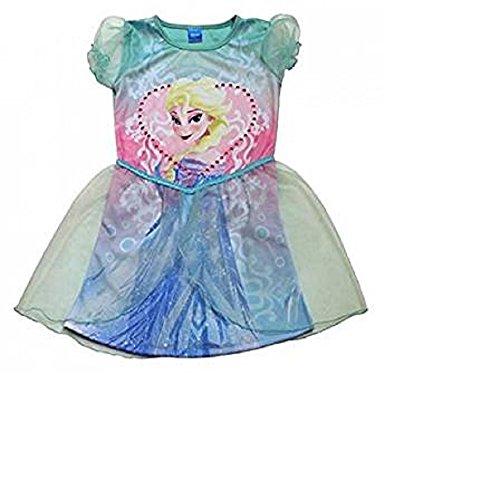 ✿FROZEN Eiskönigin ELSA✿ Kleid Sommerkleid Kostüm Karnevall Tüll Tutu kurzarm türkis 98 - 116 NEU (110/116 5-6 Jahre)
