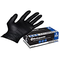 Bodyguards GL897 Powder Free Disposable Black Nitrile Gloves - Box of 100 (Medium)