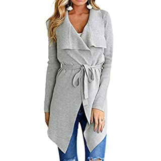 Ai.Moichien Women Long Sleeve Open Front Turn-Down Collar Cardigan Strappy Belted Slim Long Casual Coats(Gray,M)