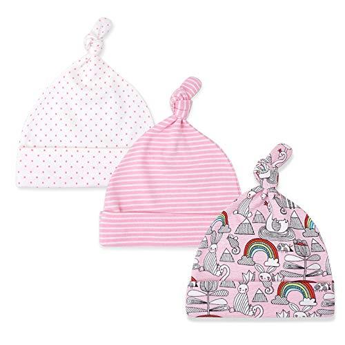 Lacofia Neugeborenes Baby Jungen Mädchen Baumwolle Gedruckt Beanie Hut Unisex Kleinkind Top Knoten Mütze 0-6 Monate Pack 3 14 -