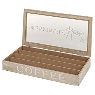 Arti Casa Wooden 4 Section Coffee Capsule Holder Container Storage Box with Glass Lid