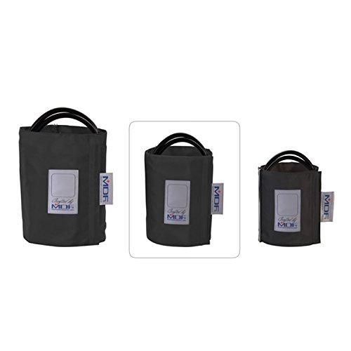 MDF® Latexfreie Blutdruckmanschette - Große Erwachsene- Zweischlauch - D-Ring Schwarz - Erwachsene Blutdruckmanschette