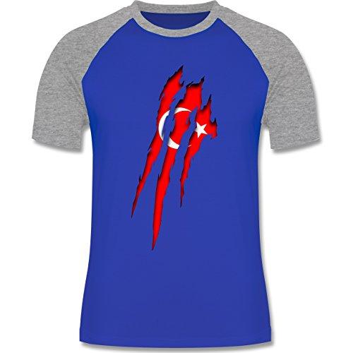 Länder - Türkei Krallenspuren - zweifarbiges Baseballshirt für Männer Royalblau/Grau meliert