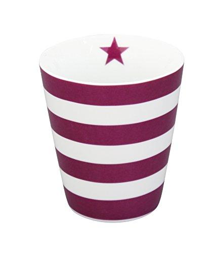Krasilnikoff - Becher/Tasse/Happy Cup - Blockstreifen- gestreift - lila/weiß - Porzellan - 250 ml (Lila Becher Tasse)