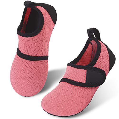 JIASUQI Baby Quick-Dry Wasser Schuhe Leichte Aqua Socken für Strand Pool Surf Yoga Übung Einfach Orange, 18/19 EU