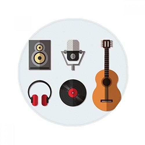 DIYthinker patrón de Guitarra Auriculares CD música del micrófono Antideslizante Piso Estera del Animal doméstico Ronda baño Sala Cocina 80cm Regalo de la Puerta 80 X 80cm: Amazon.es: Hogar