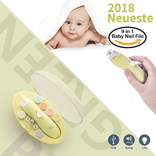 Elektrisches Baby Nagelfeile,USB-Ladevorgang, Nagelknipser Set 9 in 1, HAIGE Baby Maniküre/Pediküre Set,Baby Nagelpflege mit LED Licht für Neugeborene, Kleinkind und Mom Zehen und Fingernägel(Grün)