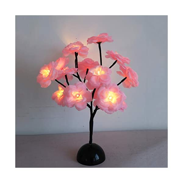 Mobestech Flower Tree Lights Decoración de dormitorio 15 Tenedores Camellia Branch Lights Lámpara de mesa para…