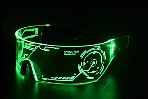 Cyberpunk Sonnenbrille mit LED-Beleuchtung, perfekt für Cosplay und Festivals, Cybergoth grün