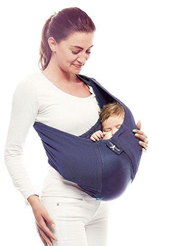 Wallaboo Tragetuch Connection, 100% Baumwolle, Passt sich der Form Ihres Baby genau an, Ergonomische Babytragetuch, Frabe: Blau