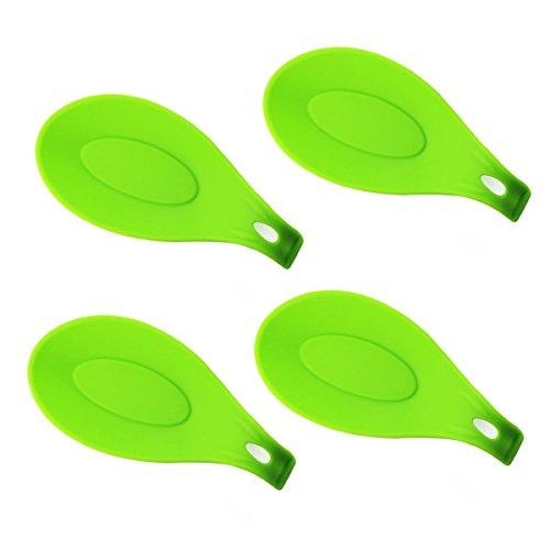 löffelablage Set- 4 Stück Jumbo Löffelablage Set mit verschiedenen hellen Jelly Farben- FDA-zugelassenen, Weich & Unzerbrechlich, hitzebeständig & geruchsresistent, ablagen für Küchenzubehör, Löffel, Spachtel, Pinsel, Besteck und so weiter