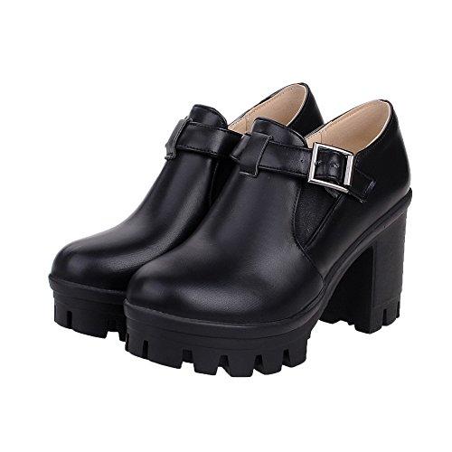 AllhqFashion Femme Rond à Talon Haut Couleur Unie Boucle Chaussures Légeres Noir