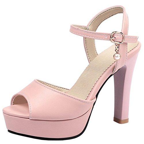 COOLCEPT Damen Mode Knochelriemchen Sandalen Peep Toe Singback Plateau Blockabsatz Schuhe Rosa
