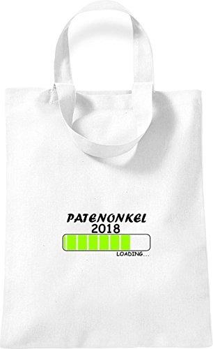 ShirtInStyle kleine Baumwolltasche PATENONKEL 2018 Loading Geburt Geschenk Weiß