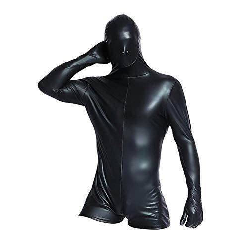 Boxer Kostüm Pet - XWZG Männer Sexy Unterwäsche Boxer Schwarzer Anzug Leder Latex Atmungsaktive Nasenlöcher Siamesische Spielkleidung Nachtclub Performance Kostüme