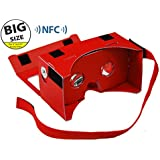 **BIGGER VERSION** I AM CARDBOARD® 45mm Focal Length Virtual Reality Google Cardboard with Printed Instructions and Easy to Follow Numbered Tabs (WITH NFC) - Perfect fit for Samsung Galaxy Note 2 and Note 3 - Red