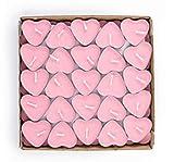 EXQUILEG 50x Kreative Romantische Herz Kerzen, Kerzen Hochzeit, Kerzen Teelicht,Liebe Kerze,Herzkerze Liebe Set Deko für Geburtstag,Vorschlag,Hochzeit,Party (Pink)