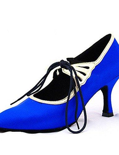 La mode moderne Sandales Chaussures de danse pour femmes personnalisables Satin Satin Amérique/moderne/Sandales talons talon intérieur personnalisé professionnel/bleu US9/EU40/UK7/CN41