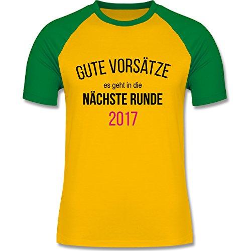 Weihnachten & Silvester - Lustiges Neujahr Motiv - zweifarbiges Baseballshirt für Männer Gelb/Grün