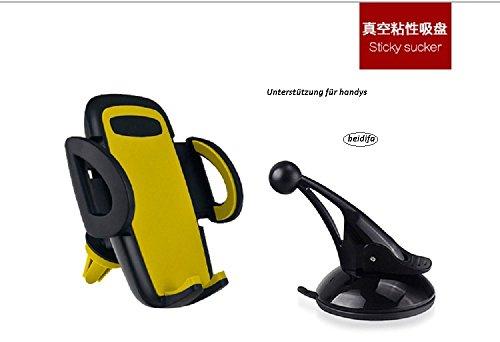 beidifa 3-in-1 universal autotelefon inhaber, auto montieren lüftung armaturenbrett windschutzscheibe telefon wiege mit 360 - grad - drehung frei einstellbare für alle smartphone - handy und gps (Gelb)