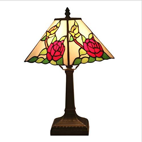 WPJY Tiffany Tischlampe, American Vintage Design Wohnzimmer Esszimmer Veranda Nacht Balkon Pflanzen Lampe Pastorale Rustikale Glasmalerei Dekoration Innenbeleuchtung,Rose 810 Rosen