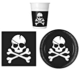 JT-Lizenzen Party-Geschirr Set Piraten Totenkopf Kinder-Geburtstag - Teller Becher Servietten (16 Personen)