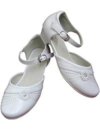 Comunión de zapatos de introducir festivas para niños niñas con blanco