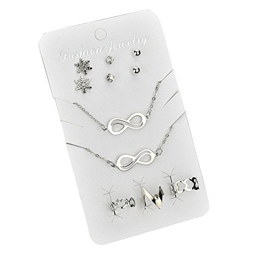 Rocl infinity symbol necklace snowflake earrings anello bracciale donna set di gioielli - argento