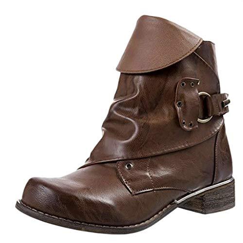 Italily Donne Moda Stivali Cowboy Western Scarpe da Donna Stivali Stivaletti Fibbia alla Caviglia Stivali col Tacco Taglia Larga Cerniera Laterale Scarpe Casual Stivali