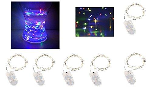 6 x 10 er Drahtlichterkette BUNT Multicolor incl. Batterie Micro LED Lichterkette Lichterschlauch Batterie Weihnachten Licht Lichterketten Party Innen