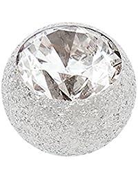 Stahl Schraubkugel Diamantoptik mit Kristall siberfarben 1,2mm Kugel 4mm