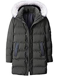 c4536ae3ed4 QUINTRA Winter Coats for Men Men s Medium Length Zipper Plus Size Hooded  Pure Color Thickened Cotton