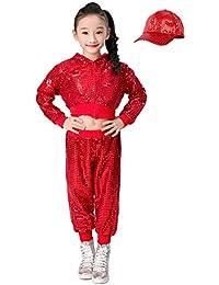 niños niñas Lentejuelas Hip Hop Traje de Calle Conjunto de Ropa de Baile Tops+Pantalones+Sombrero