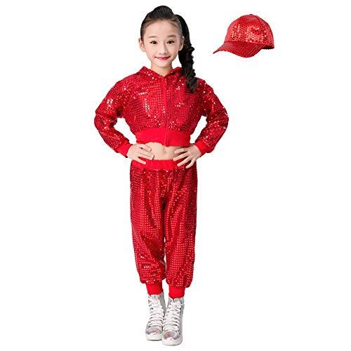 Kostüm Hop Hip Tanz Für - Kinder Mädchen Pailletten Hip Hop Kostüm Street Dance Kleidung gesetzt (140, rot)