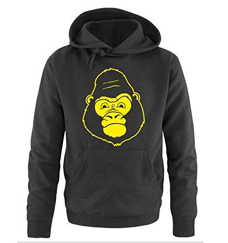 Comedy Shirts - GORILLA - Uomo Hoodie cappuccio sweater - taglia S-XXL different colors nero / neon giallo