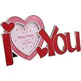 MagiDeal Marco de Foto de Parejas Letras Te Amo I Love You Aleación de zinc Rojo Decoración de Mesa de Boda