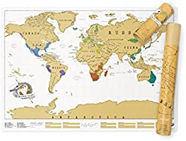 Luckies Scratch Map, Mappa Multicolore da grattare 82.5 x 59.4 cm