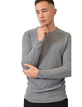 VILLAGGIOWEAR Maglia Grigia Acrilico Quadri Rilievo Paricollo Abbigliamento Moda Uomo