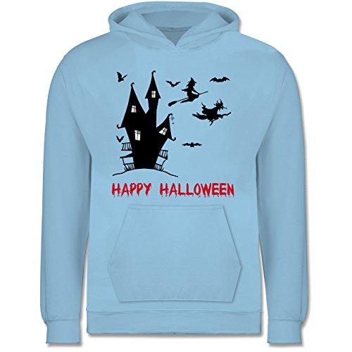 Shirtracer Halloween Kind - Happy Halloween Hexen Haus - 12-13 Jahre (152) - Hellblau - JH001K - Kinder (80 Jahre Motto Kostüm Jungs)