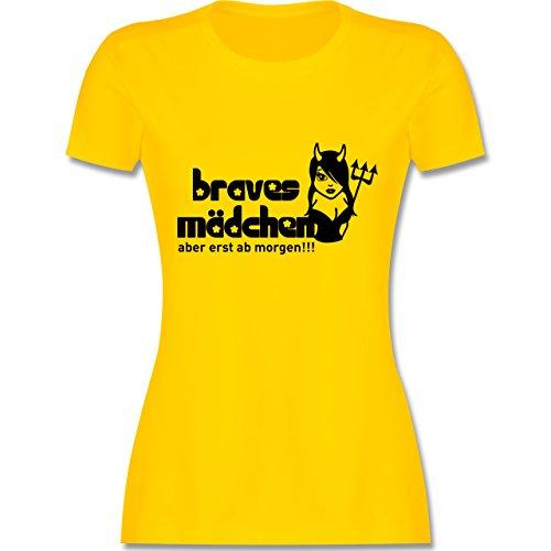 JGA Junggesellinnenabschied - Braves Mädchen - Aber erst ab morgen - tailliertes Premium T-Shirt mit Rundhalsausschnitt für Damen Gelb
